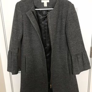 H&M Grey Coat With Bell Sleeves (Size 4)